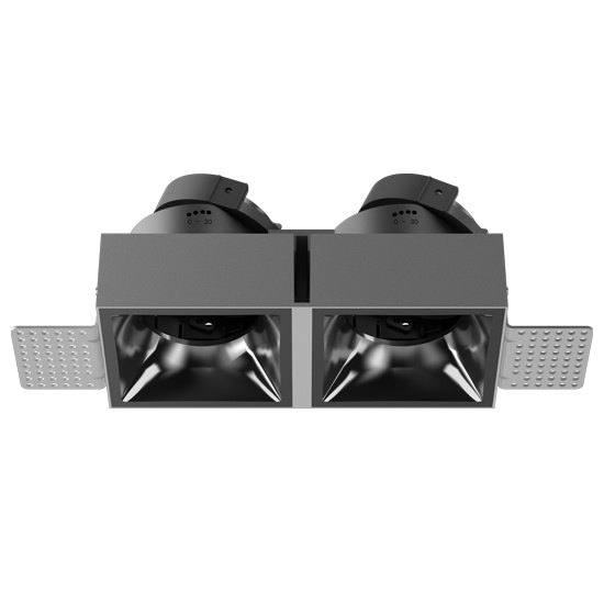 Double head fixture trimless for module GU10 MR16